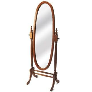 Olive Ash Burl Oval Cheval Mirror