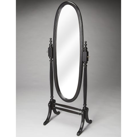 Black Licorice Oval Cheval Mirror - Twlight