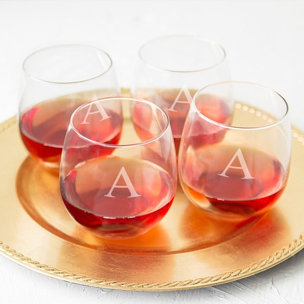 shop personalized stemless red wine glasses set of 4 free shipping on orders over 45. Black Bedroom Furniture Sets. Home Design Ideas