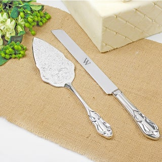 Silver-Plated Personalized Vintage Cake Server Set