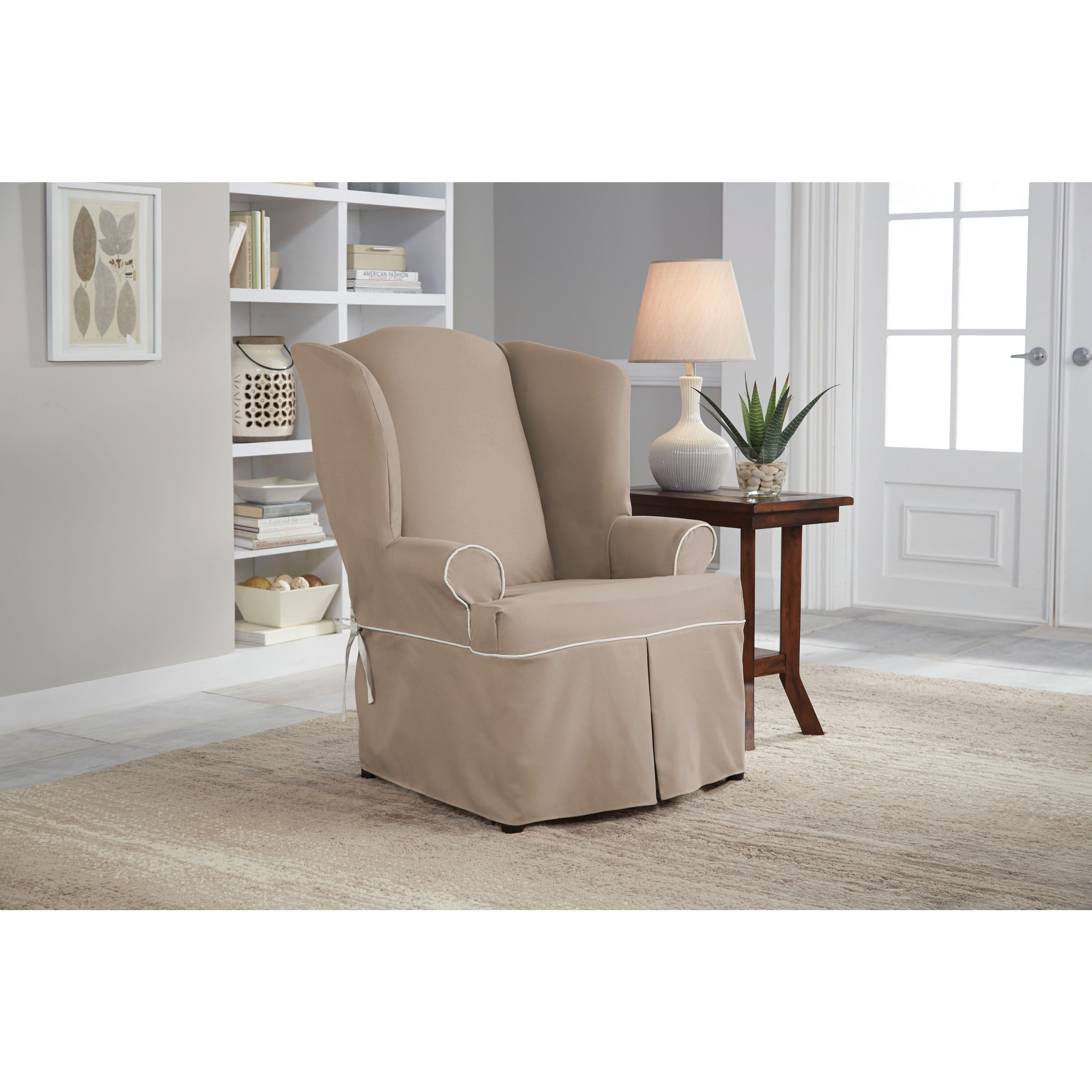 Tailor Fit Relaxed Fit Twill Wingback Chair Slipcover (Ta...