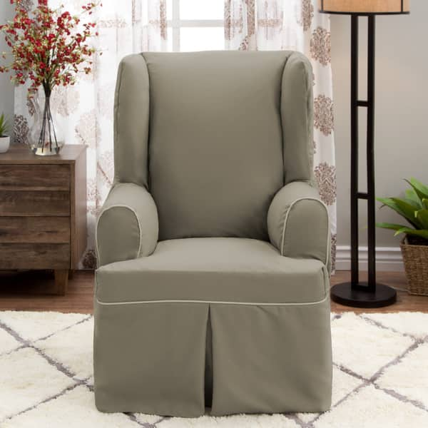 Super Shop Tailor Fit Relaxed Fit Twill Wingback Chair Slipcover Gmtry Best Dining Table And Chair Ideas Images Gmtryco