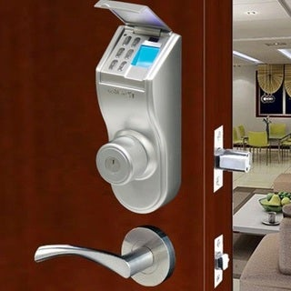 iTouchless Bio-Matic Fingerprint Left Handle Silver Deadbolt Door Lock