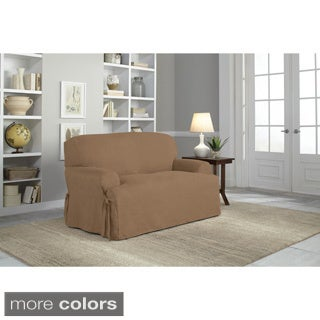 Tailor Fit Relaxed Fit Smooth Suede T-cushion Loveseat Slipcover