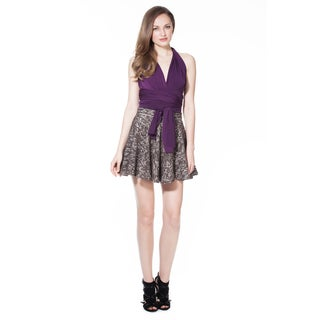 Women's Brown Jacquard Mini Skirt