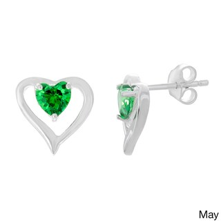 Sterling Essentials Silver Cubic Zirconia Birthstone Heart Stud Earrings (More options available)