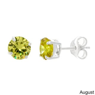 Sterling Essentials Silver Cubic Zirconia Birthstone Round Stud Earrings (Option: Green - Peridot - Green - August)