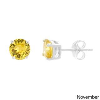 Sterling Essentials Silver Cubic Zirconia Birthstone Round Stud Earrings