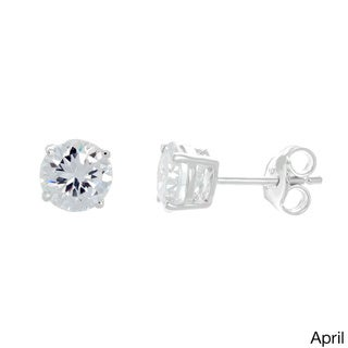 Sterling Essentials Silver Cubic Zirconia Birthstone Round Stud Earrings