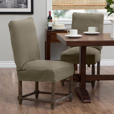 Tailored Solutions Relaxed Fit Smooth Suede Short Dining Chair Slipcover (Set of 2)