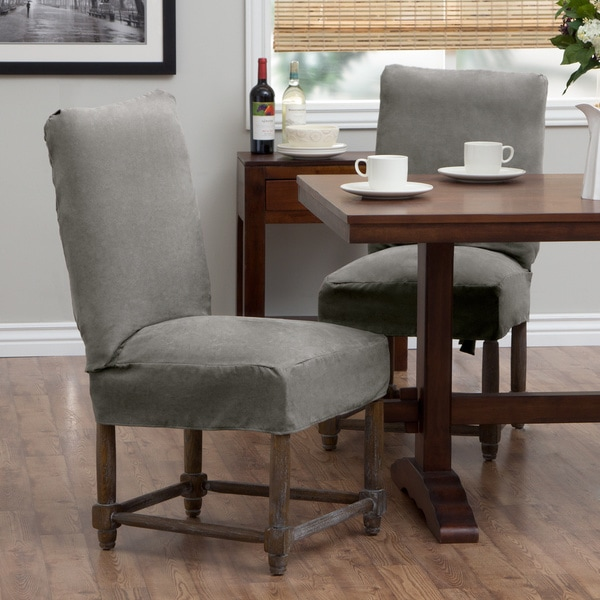 Tailor Fit Relaxed Smooth Suede Short Dining Chair Slipcover Set Of 2