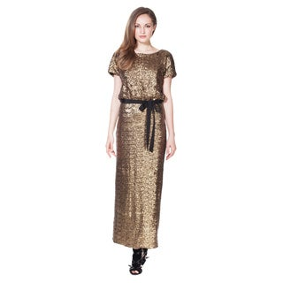 Women's Gold Sequined Maxi Dress Made In USA