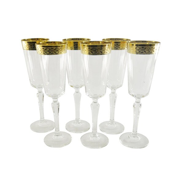 Italian Crafted Gold Rim Glass Champagne Flutes Set Of 6