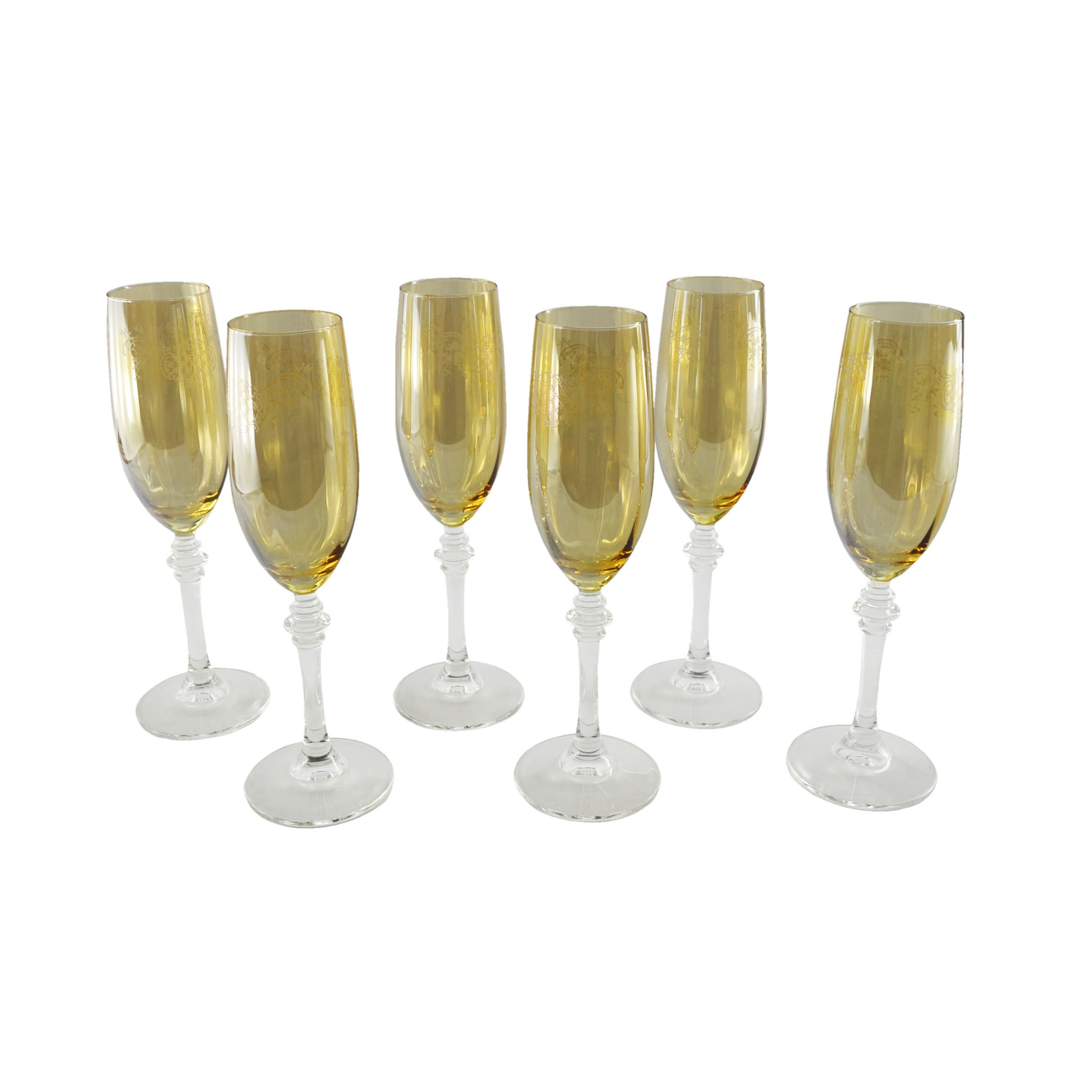 Three Star Italian Crafted Gold Tinted Champagne Flutes (...