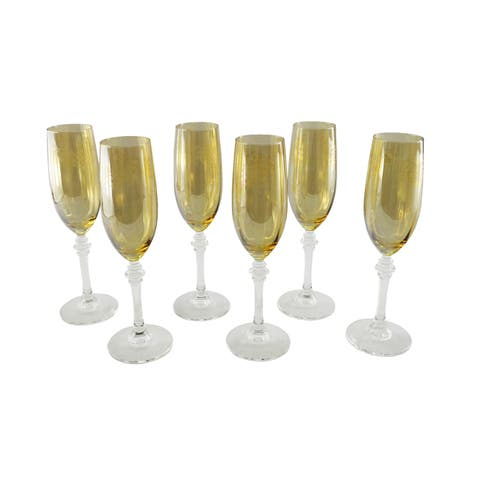 Italian Crafted Gold Tinted Champagne Flutes (Set of 6)