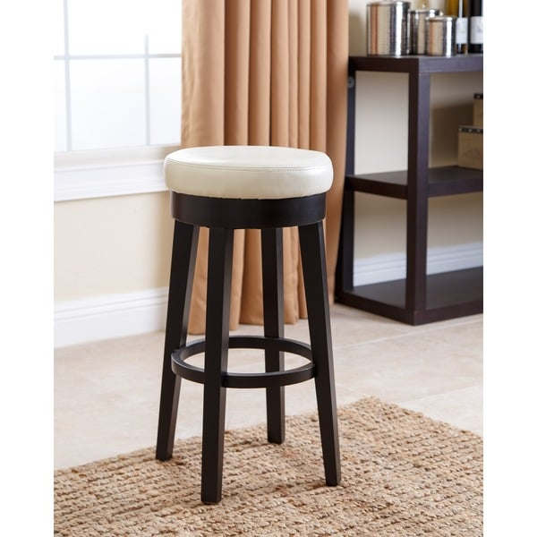 Shop Abbyson Camila 26 Inch Ivory Bonded Leather Counter Stool