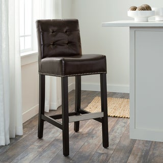 Abbyson Masimo 30-inch Dark Brown Bonded Leather Bar Stool