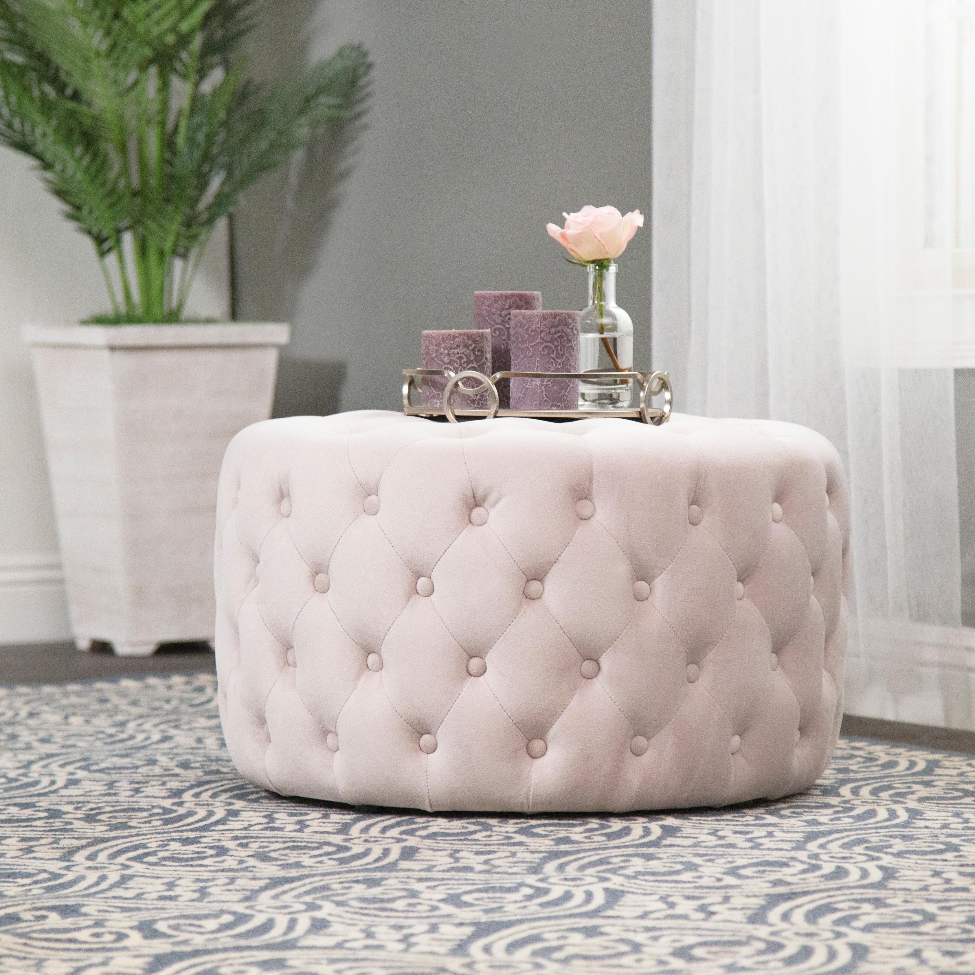Super Abbyson Ella Ivory Tufted Round Velvet Ottoman Alphanode Cool Chair Designs And Ideas Alphanodeonline