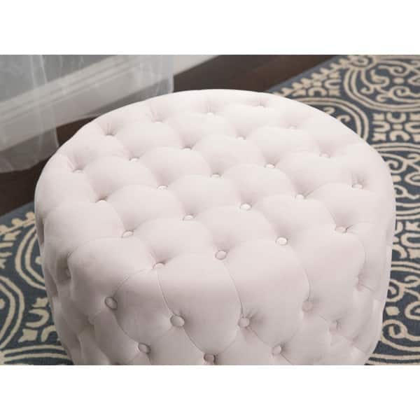 Miraculous Shop Abbyson Ella Ivory Tufted Round Velvet Ottoman On Machost Co Dining Chair Design Ideas Machostcouk