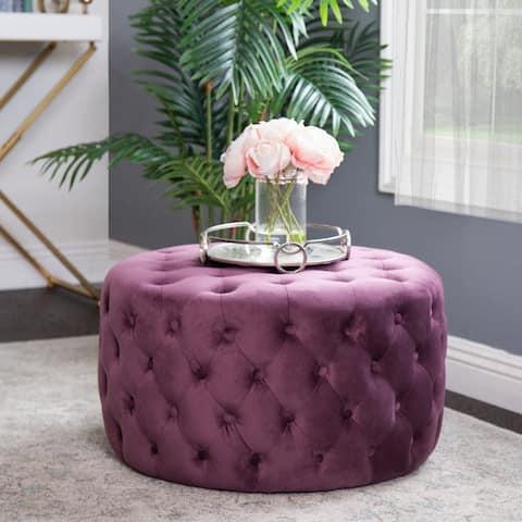 Abbyson Ella Purple Tufted Round Velvet Ottoman