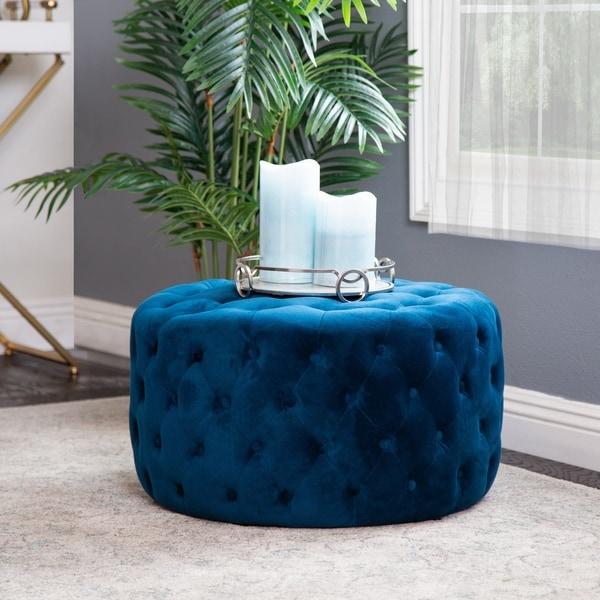 Shop Abbyson Ella Blue Tufted Round Velvet Ottoman On