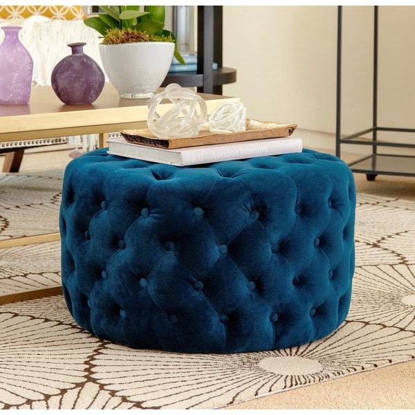 Abbyson Ella Blue Tufted Round Velvet Ottoman Free