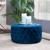 Abbyson Ella Blue Tufted Round Velvet Ottoman