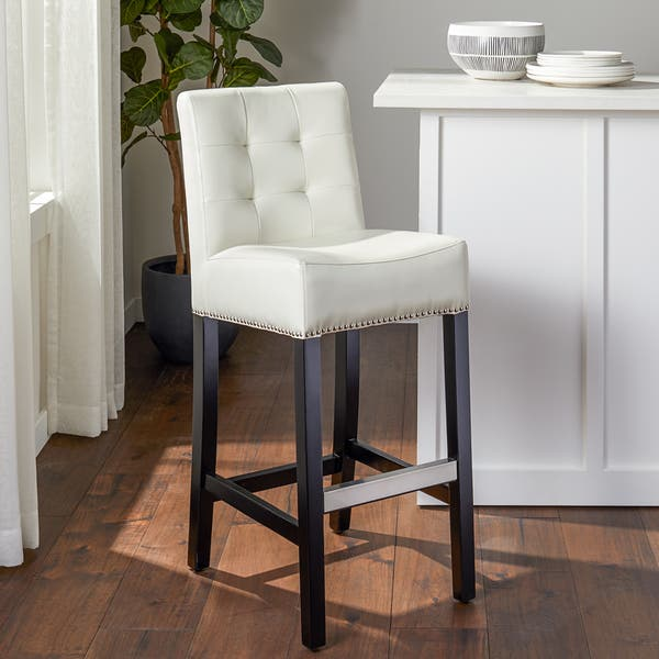 Incredible Shop Abbyson Masimo Ivory Bonded Leather Bar Stool On Sale Theyellowbook Wood Chair Design Ideas Theyellowbookinfo