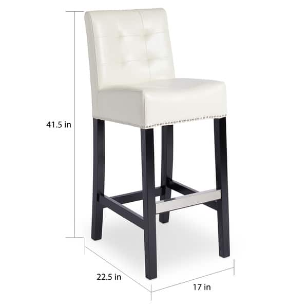 Awesome Shop Abbyson Masimo Ivory Bonded Leather Bar Stool On Sale Theyellowbook Wood Chair Design Ideas Theyellowbookinfo
