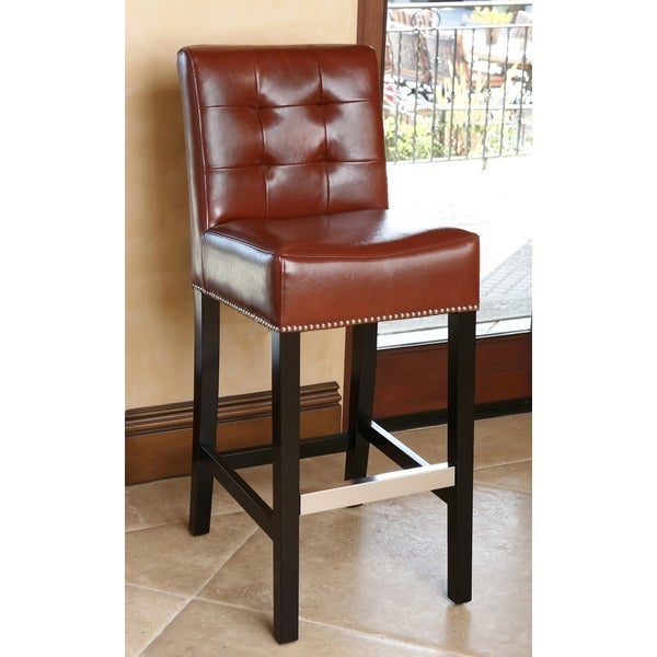 Shop Abbyson Masimo 30 Inch Red Leather Barstool Free Shipping