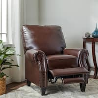 Abbyson Carla Brown Bonded Leather Push Back Recliner