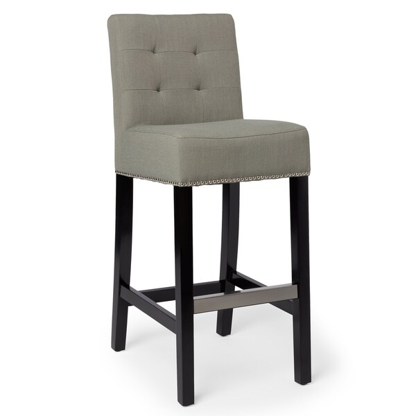 Shop Abbyson Masimo 30 Inch Grey Linen Bar Stool On Sale Free