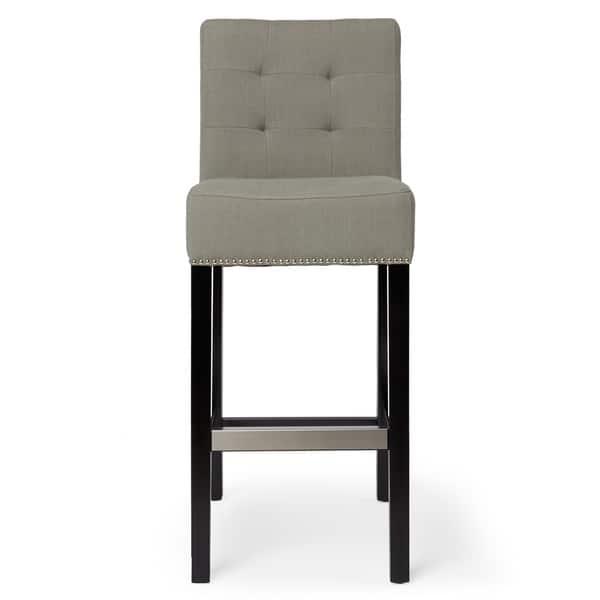 Abbyson Masimo 30 Inch Grey Linen Bar Stool Overstock 9557854