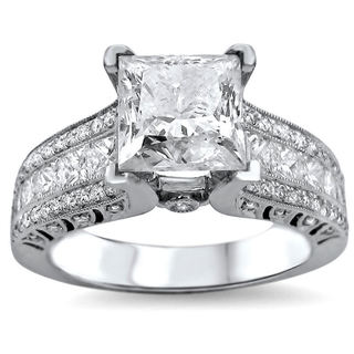 Link to 18k White Gold 2 4/5ct TDW UGL-certified Enhanced Princess-cut Round Diamond Engagement Ring Similar Items in Rings