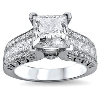 18k White Gold 2 4/5ct TDW UGL-certified Enhanced Princess-cut Round Diamond Engagement Ring