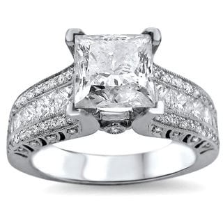 Noori 18k White Gold 2 4/5ct TDW UGL-certified Enhanced Princess-cut Round Diamond Engagement Ring