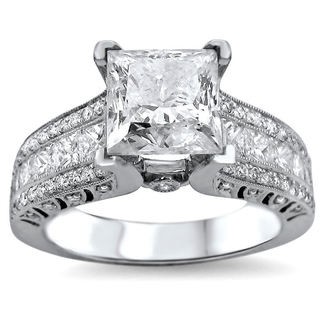 Noori 18k White Gold 2 4/5ct TDW UGL-certified Enhanced Princess-cut Round Diamond Engagement Ring (G-H, SI1-SI2)