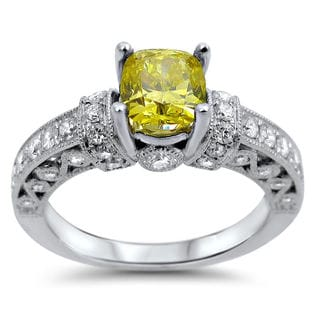 Noori 14k White Gold 1 1/3ct Cushion-cut Fancy Canary Yellow and White Diamond Ring (F-G, SI1-SI2)