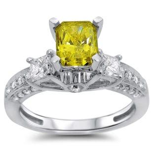 Noori 14k White Gold 1 1/2ct Radiant Fancy Yellow and White Three-stone Diamond Ring