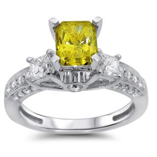 Noori 14k White Gold 1 1/2ct Radiant Fancy Yellow and White Three-stone Diamond Ring (G-H, SI1-SI2)