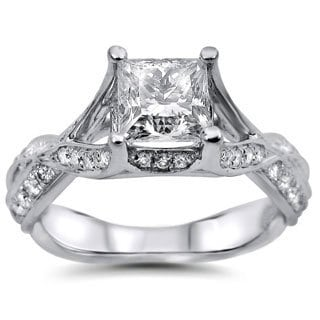 Noori 18k White Gold 1 1/4ct Princess-cut Round Diamond Engagement Ring