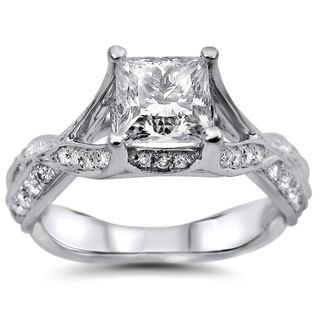 Noori 18k White Gold 1 1/2ct Princess Cut Round Diamond Engagement Ring