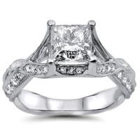 Noori 18k White Gold 1 1/2ct Princess Cut Round Diamond Engagement Ring