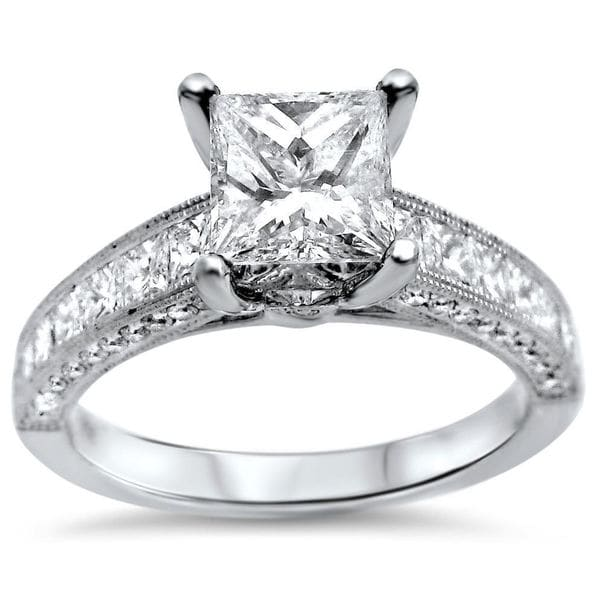 Noori 18k White Gold 2 1/6ct Princess-cut Diamond Engagement Ring