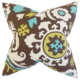Pavati Floral 18-inch Feather Filled Chocolate Throw Pillow