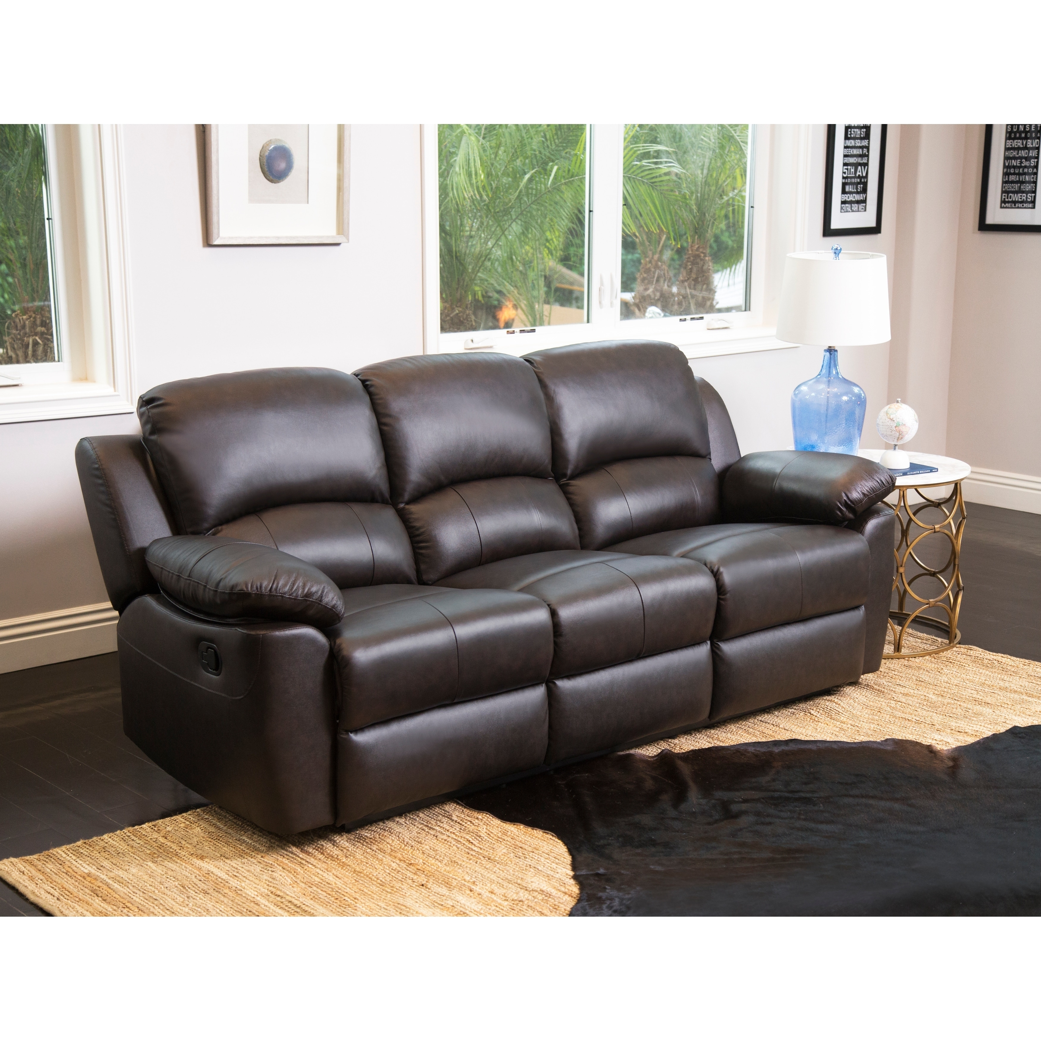 Abbyson Living Riley Top Grain Leather Reclining Sofa And