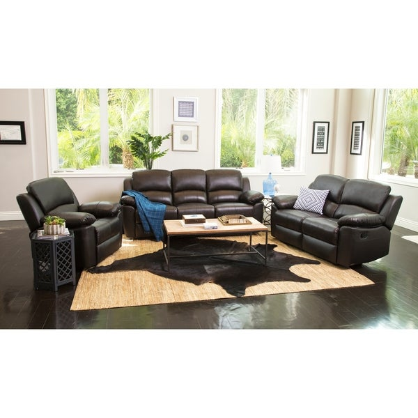 Cheapest Living Room Sets: Shop Abbyson Westwood Brown Leather 3 Piece Living Room