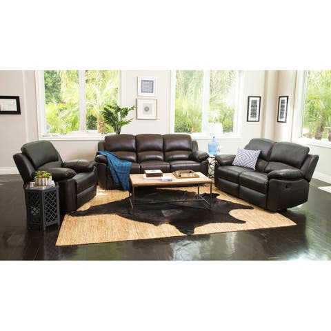 Abbyson Westwood Brown Leather 3 Piece Living Room Reclining Set