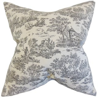 Ramira Charcoal Toile 18-inch Feather Filled Throw Pillow