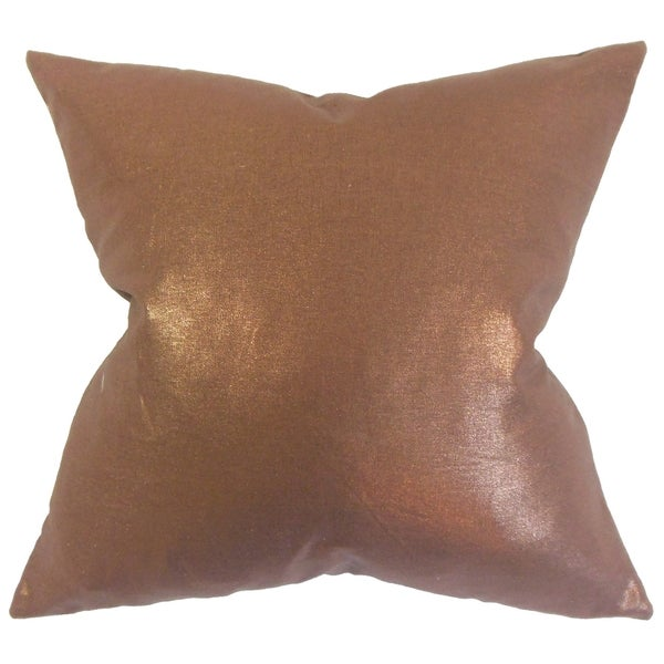 Berquist Solid 18-inch Feather Filled Thow Amber Amber 18-inch Throw Pillow